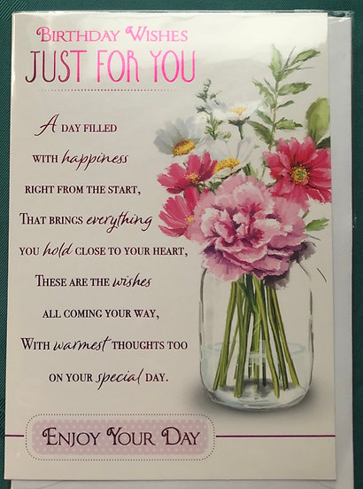 Floral Birthday Card with verse (A day filled with happiness)