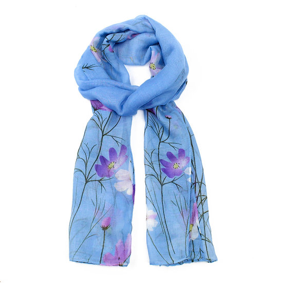 Summer scarf - Blue floral - XS4302 C02