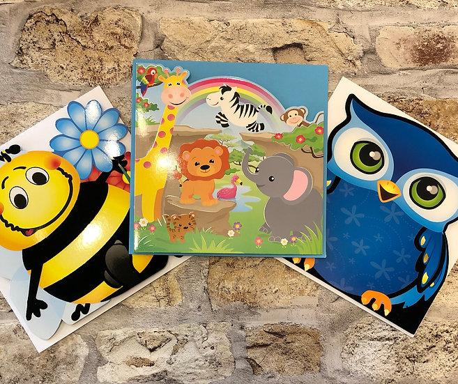 3 x children's cards - (Bee. jungle, Owl)