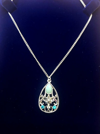 Pear shaped necklace - Turquoise - INEC3906