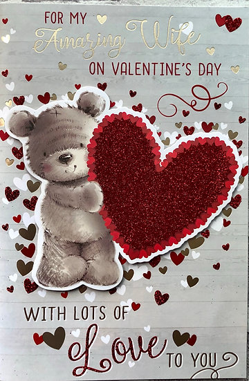 Valentines crd - Cute bear and heart - Wife