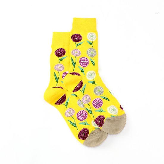Socks - Flowers on yellow