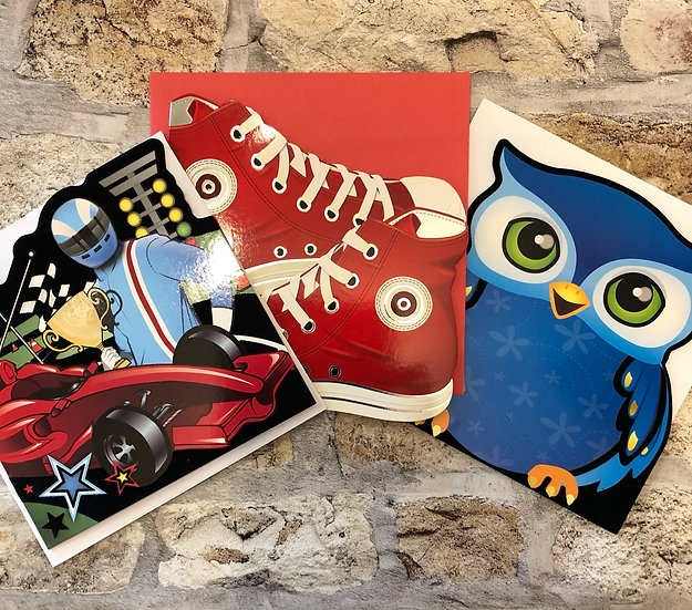 3 x children's cards (Racing car, owl,converses)