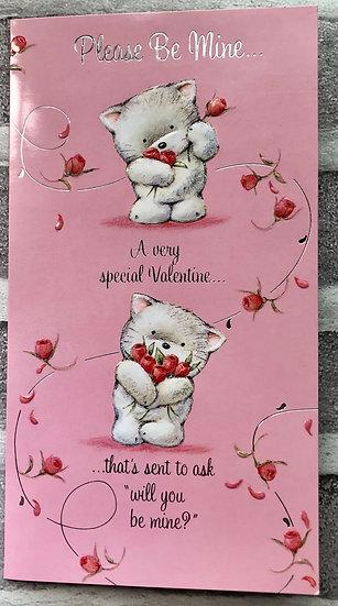 Valentines Card - Pleas be mine - Cute Kitty
