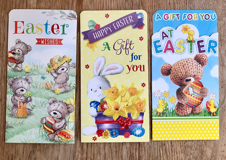 3 x Easter Gift Money Wallets - B