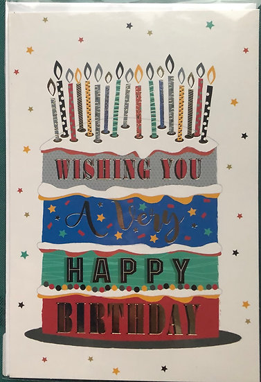 Male Birthday Card - Candles on cake