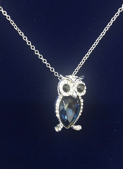 Owl necklace Blue - INEC4093