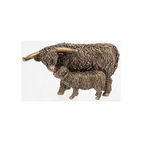 Highland Coo and Calf Bronze figure 200752