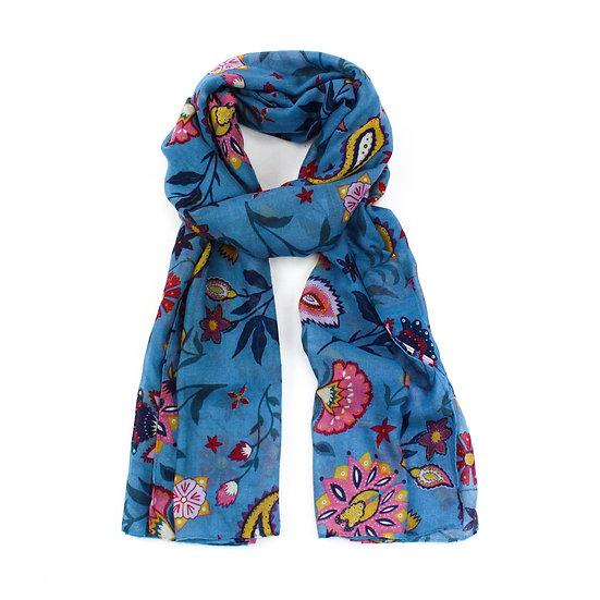 Summer scarf -Folk flower Blue