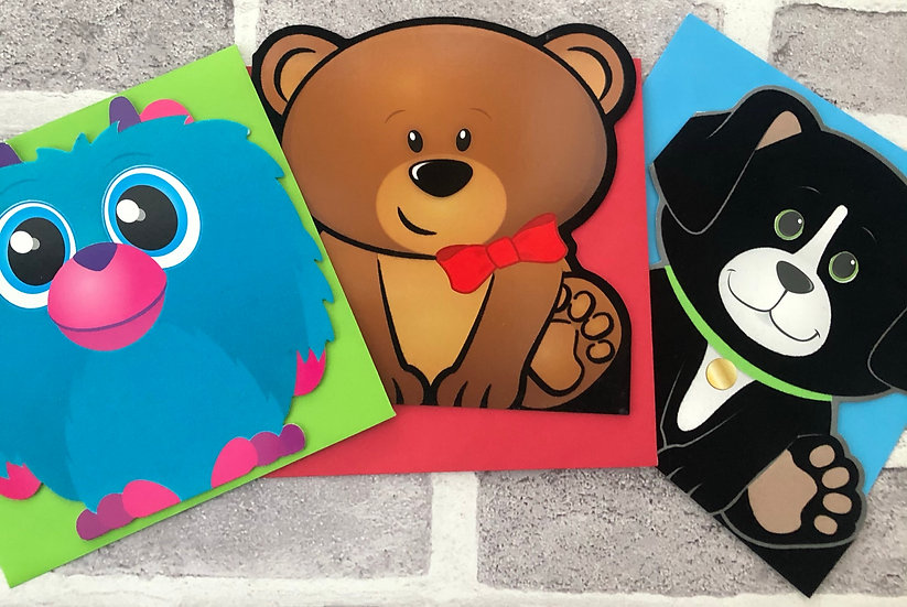 3 x Children's Cards -  (Blue monster, Bear, Black dog)