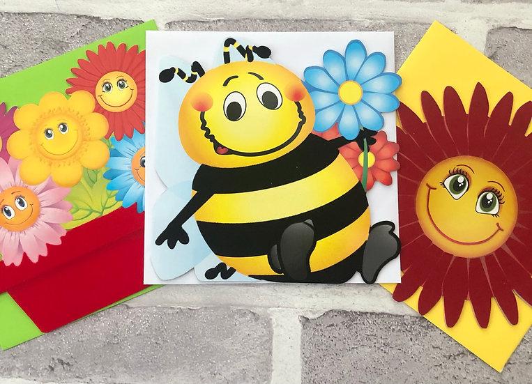 3 x Children's Cards - (Flower pot, Bee, Red flower)