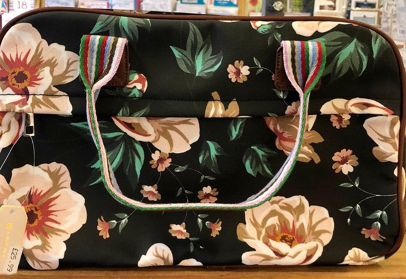 Overnight bag- Oil cloth - Black floral