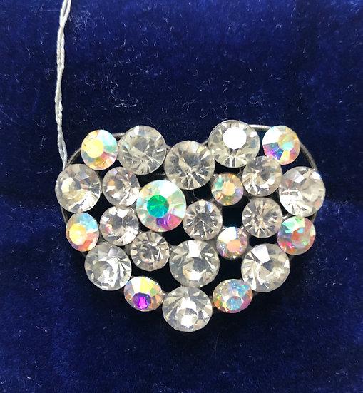 Heart Brooch - iridescent sparkling stones.