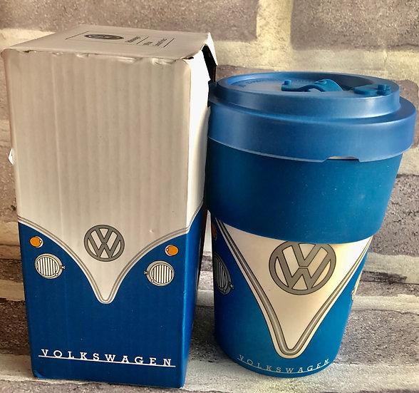 Blue Volkswagen Campervan Bamboo travel mug