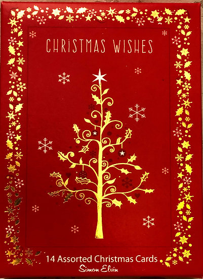 Christmas cards Gold tree
