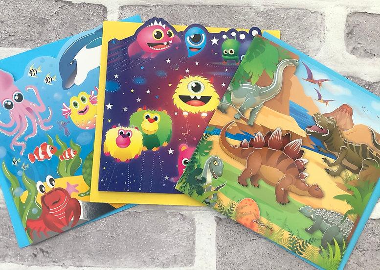 3 x Children's Cards - (Under water, cute aliens, Dinosaure's)