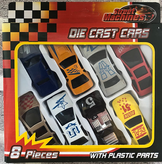 Die Cast Free Wheel Cars 8 pieces.