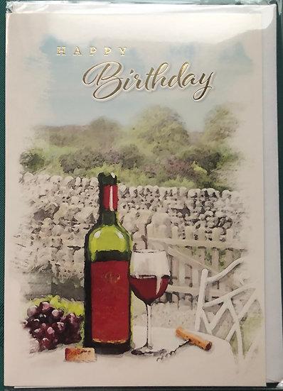 Male birthday card - Wine