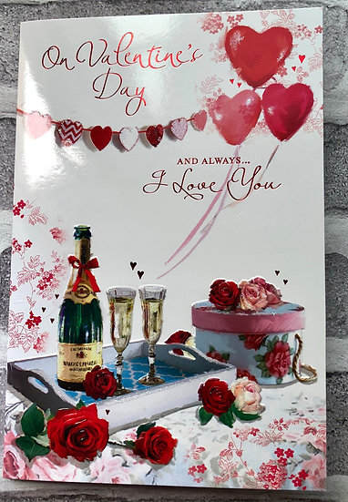Valentines Card - Champaign and Roses