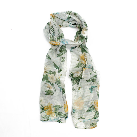 Summer scarf - Orange/green floral - XS3309 C08