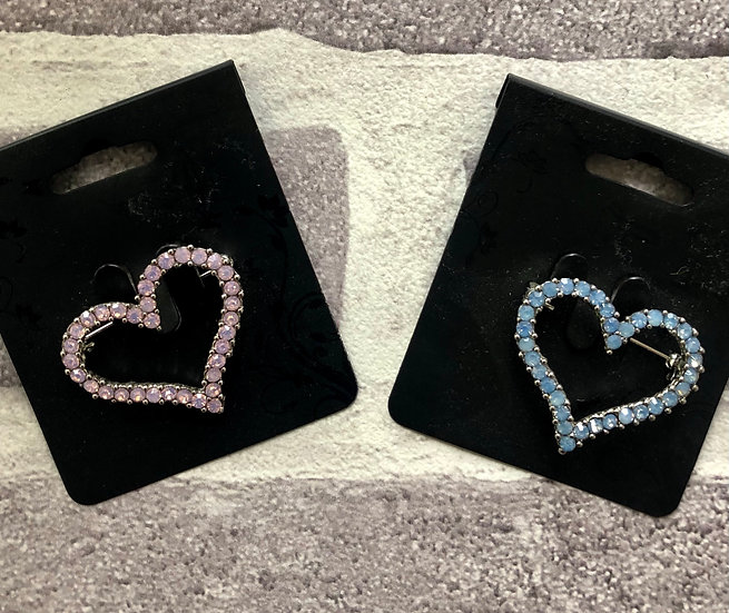 Heart brooch - coloured diamante.