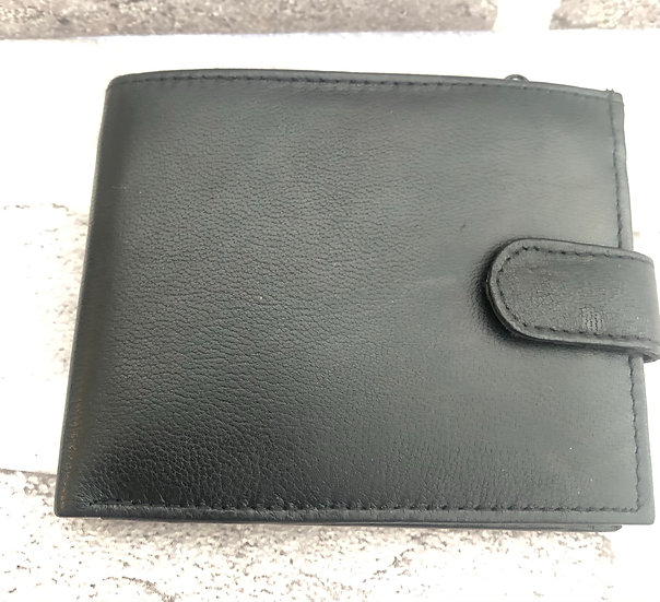 Leather wallet Black with clasp 1193