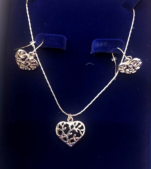 Heart necklace and ear-rings - INEC4094