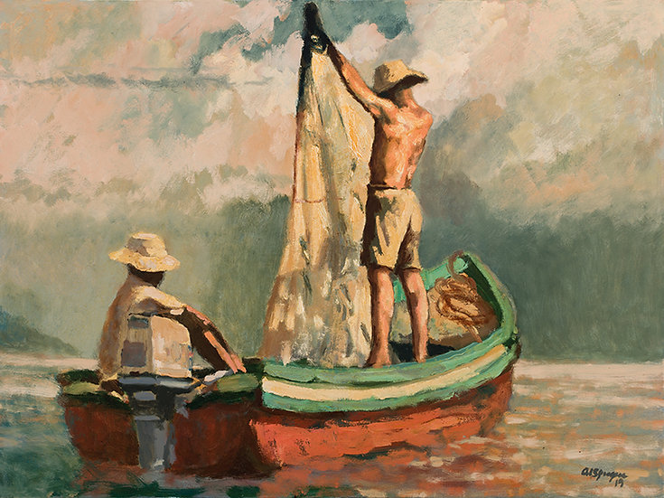 Catching Bait Off of Taboga, 30 x 40 Oil