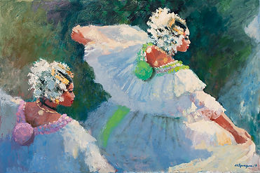 White Polleras Dancing, 24 x 36, Oil, 20