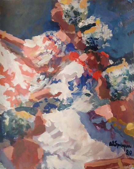 Polleras en Fila, Acrylic, 11 x 14