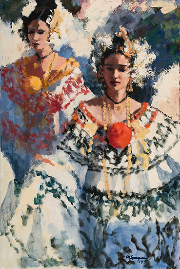 Santa Domingo Carnival in the Afternoon, 24 x 36 Oil