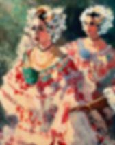 Al Sprague painting of Panama Pollera Dancers