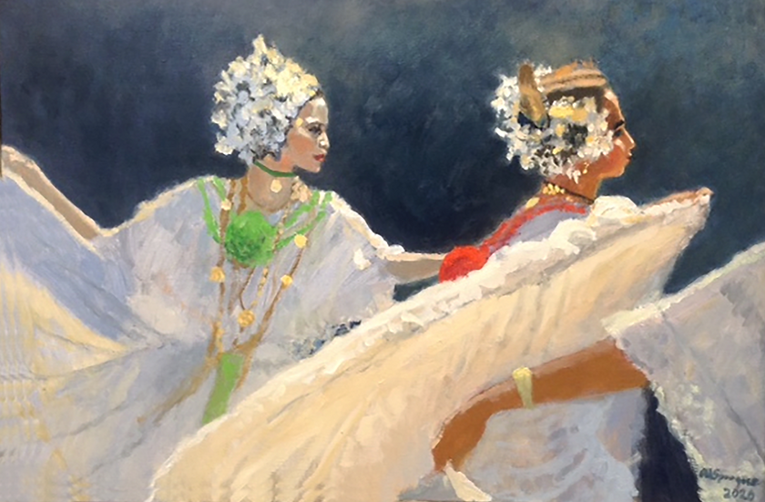 Dancers in White, 24 x 36, Oil, 2020