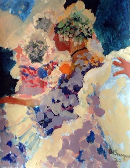Yellow Pom, Acrylic, 11 x 14