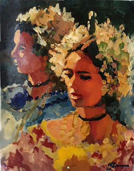 Pollera Portraits, 11 x 14, Acrylic, 202