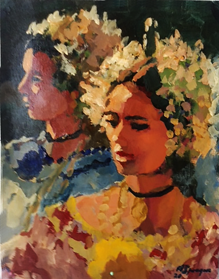 Pollera Portraits, Acrylic, 11 x 14
