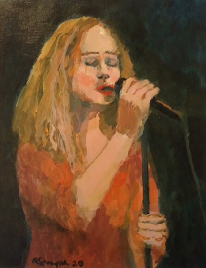 Singer in Red Dress