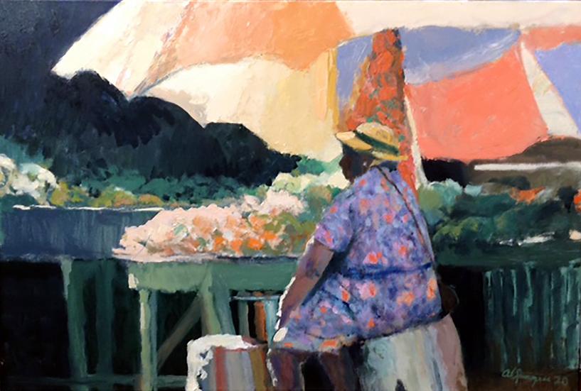 Selling Oranges, 24 x 36, Oil