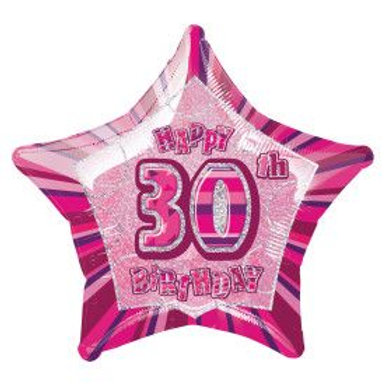 "Balloon Foil 18"" Happy Birthday 30 Pink"