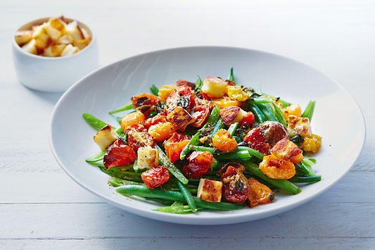 gesund ausgewogen - es muss nicht nur Salat sein - gesunder Teller - Abnehmen ohne Hungern - gemeinsam ans Ziel - zu mehr Wohlbefinden - zu mehr Lebensqualität - Bohnen - Eiweiß - Tomaten - Gemüse - gesunde Fette - Leinöl