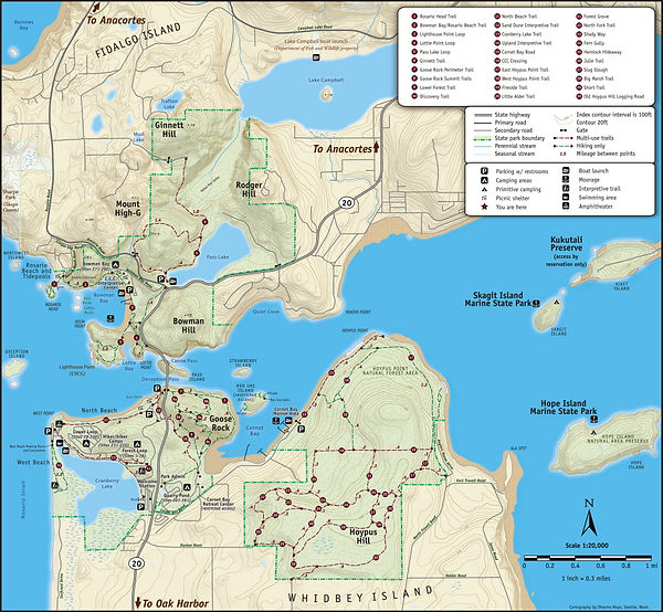 View a map of Deception Pass State Park; includig trails, roads, parking, beaches and more.