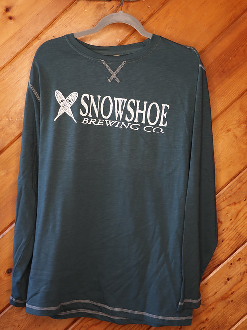 Green Henley Snowshoe Long Sleeve Shirt