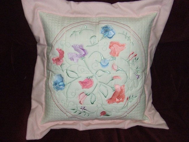 Sweet pea cushion