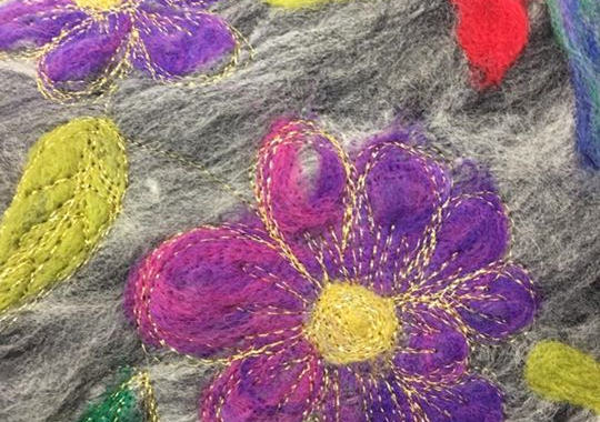 Felting and thread sketching