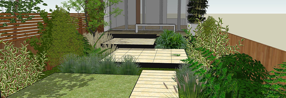 3d illustration of view towards house