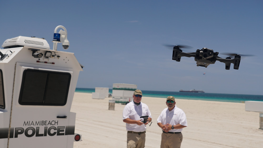 MIAMI BEACH - Christopher Todd and Tony Loperfido of the Airborne International Response Team (AIRT) evaluate the new Parrot ANAFI USA over a closed Miami Beach on July 3, 2020.  Photo by AIRT.