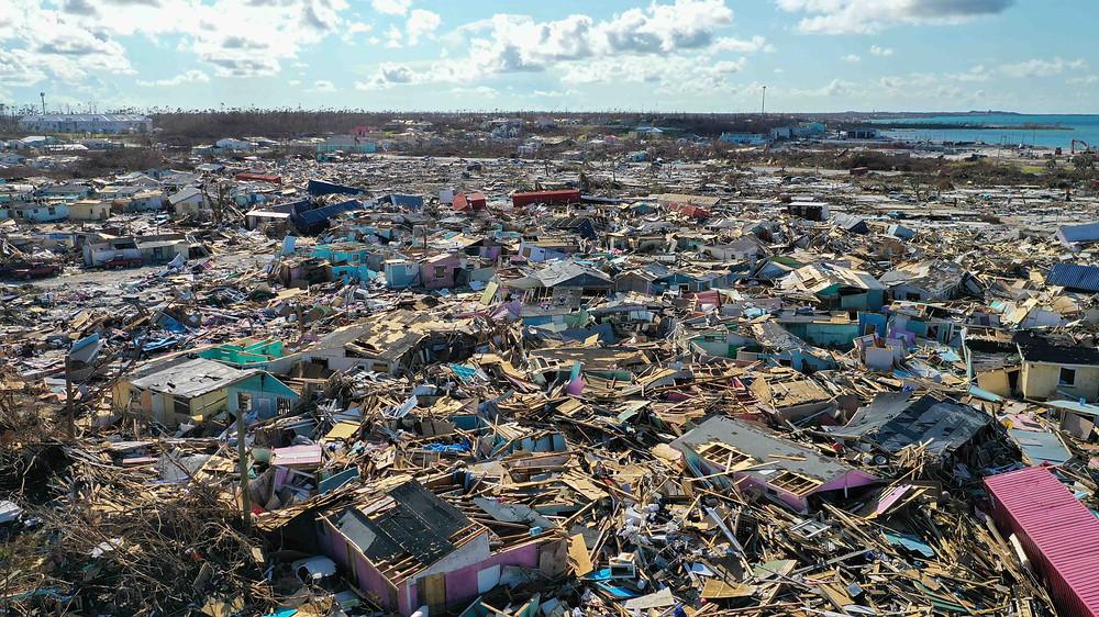 Drone photo of Marsh Harbor, Bahamas after Hurricane Dorian