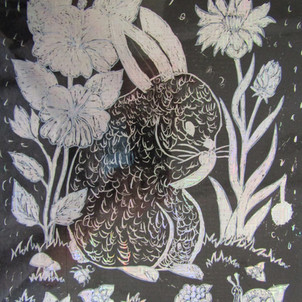 79. Rabbit hopping through the woods by Beverley