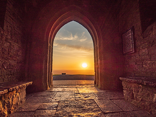 Limited edition canvas of Sunrise Through the Archway on Glastonbury Tor