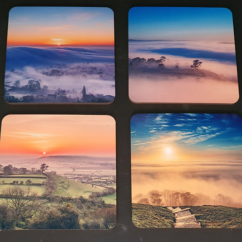 Set of 4 coasters, Mists over the levels.